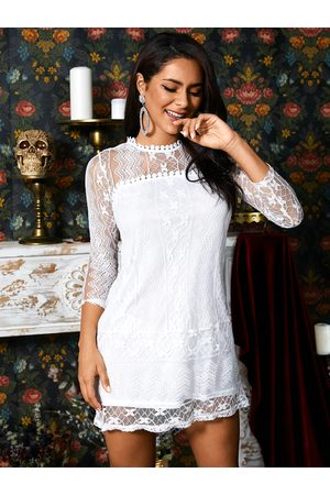 YOINS Lace Long Sleeves Tiered Details Mini Length Dress