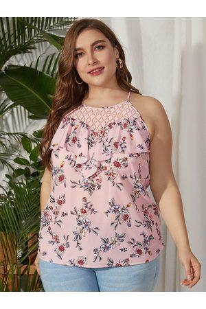 YOINS Women Camisoles - Plus Size Crochet Lace Random Floral Print Cami