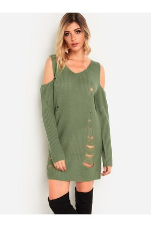 YOINS Women Casual Dresses - Random Ripped Details V-neck Cold Shoulder Long Sleeves Sweater Dress