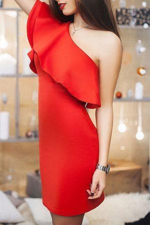 YOINS Women Bodycon Dresses - One Shoulder Flouncing Bodycon Party Dress
