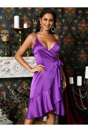 YOINS Self-tie Design Deep V-neck Wrap Dress