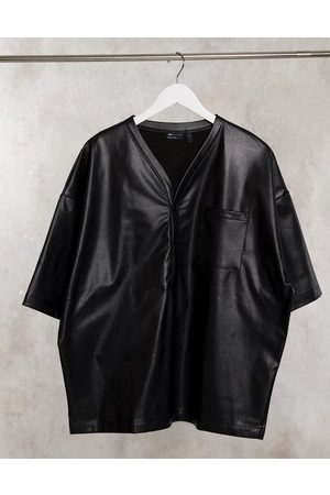 ASOS Oversized baseball shirt in stretch perforated pu leather in