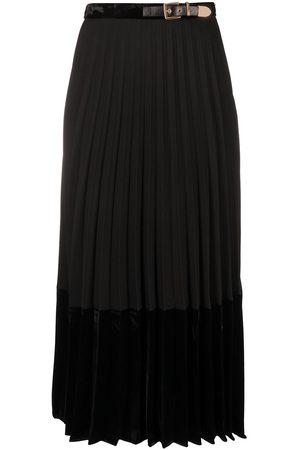 Sandro Velna velvet panelled mid-length skirt