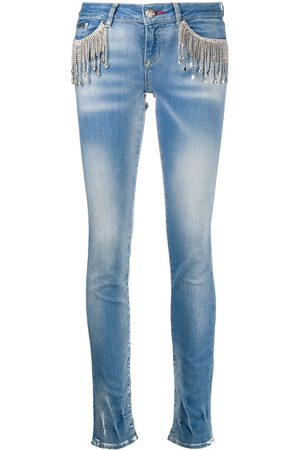 Philipp Plein Crystal-fringe slim-fit jeans
