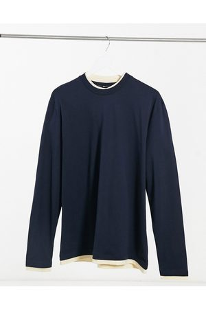 ASOS Long sleeve relaxed double layer t-shirt in navy & off white