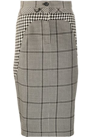 Marine Serre Button check-print pencil skirt