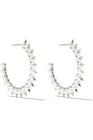 Tasaki 18kt white gold Danger Tribe Akoya pearl large hoop earrings