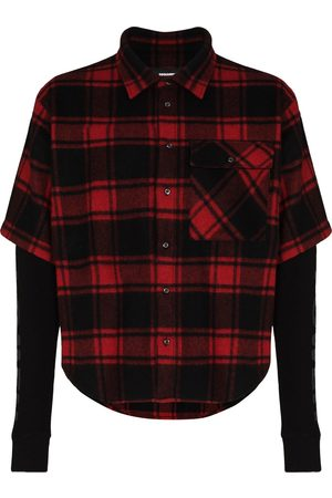 Dsquared2 Layered checked wool and cotton shirt