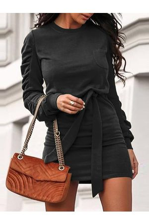 YOINS Casual Belted Ruched Lace-up Design Round Neck Long Sleeves Sweater Dress