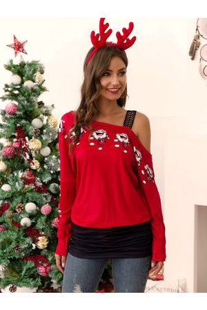 YOINS Christmas Graphic One Shoulder Ruched Sweatshirt