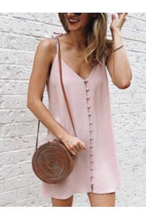 YOINS Adjustable shoulder straps Button Front Sleeveless Mini Dress