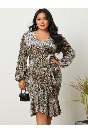 YOINS Plus Size Halloween V-neck Leopard Long Sleeves Midi Dress
