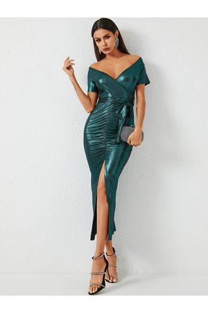 YOINS Women Maxi Dresses - Green Belt Design Short Sleeves Dress