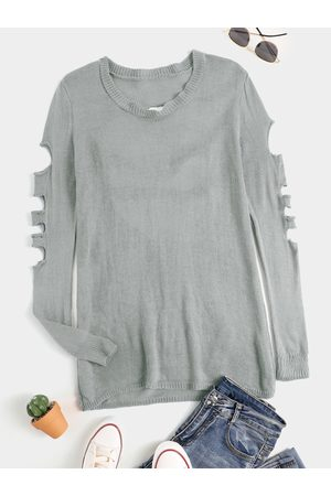 YOINS Casual Cut Out Hollow Design Round Neck Long sleeves Knitwear Dress