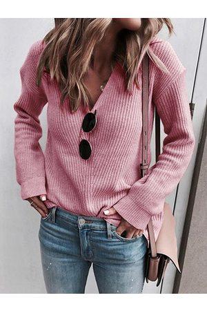 YOINS Women Long Sleeve - Casual V-neck Long Sleeves Sweater