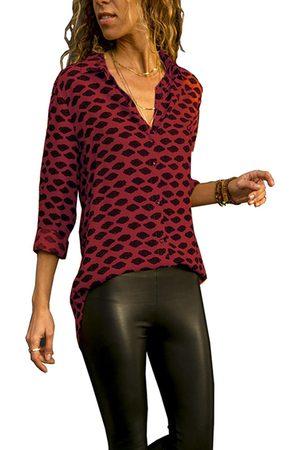 YOINS Button Design Graphic Lapel Collar Long Sleeves Blouse