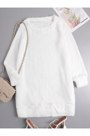 YOINS Casual Teddy Side Pockets Round Neck Long sleeves Dress