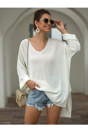 YOINS Slit High Low Hem Knit Sweater