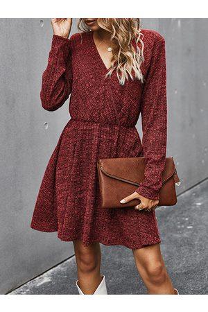YOINS Casual Wrap Knit V-neck Long Sleeves Mini Dress