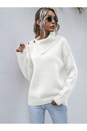 YOINS Women Jumpers - Button Front Pullover Long sleeves Sweater