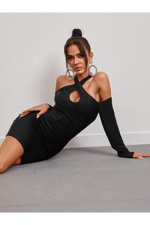 YOINS Black Glitter Criss Cross Cold Shoulder Halter Bodycon Mini Dress