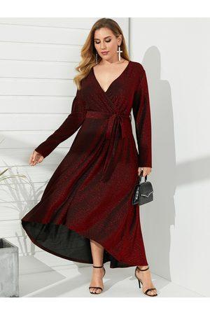 YOINS Plus Size Deep V-neck Glitter Belt Design Wrap Design Long Sleeves Maxi Dress