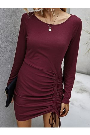 YOINS Casual Ruched Drawstring Ribbed Knit Round Neck Long Sleeves Mini Dress