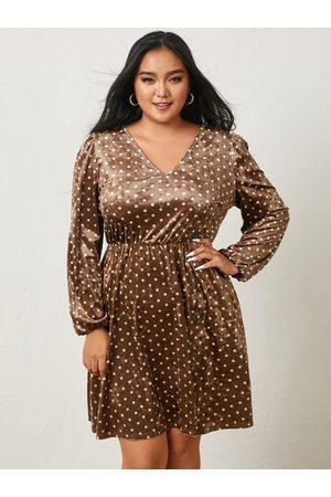 YOINS Plus Size V-neck Polka Dot Long Sleeves Mini Dress