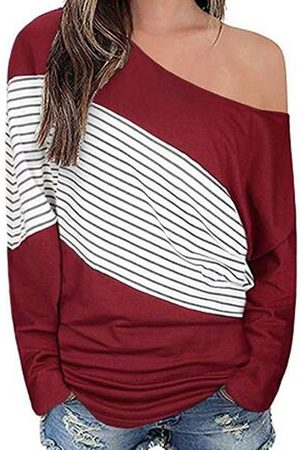YOINS Color Block Patch Stripe One Shoulder Long Sleeves Tee