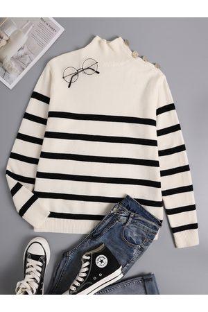 YOINS Striped Button Design Turtleneck Long Sleeves Sweater