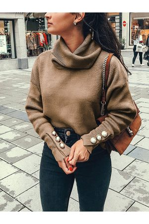 YOINS Button Design Turtleneck Knit Top