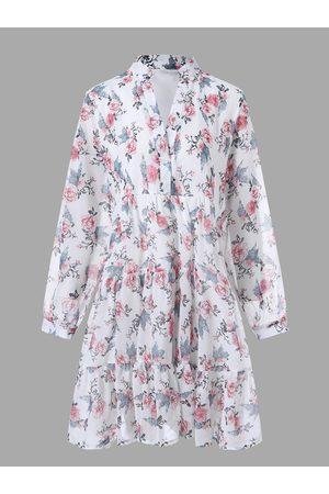 YOINS Casual Calico Ruffle Trim V-neck Long Sleeves Mini Dress