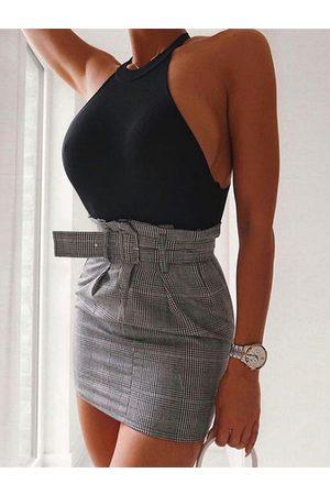 YOINS Sexy Backless Design Halter Sleeveless Bodysuit