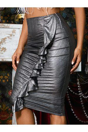 YOINS Women Skirts - Ruffle Trim Ruched Design Sequins Skirt