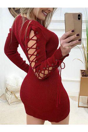 YOINS Criss-cross Lace-up design Mini Dress