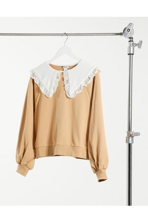 Monki Selma cotton sweatshirt with collar in