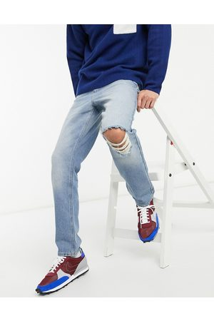 ASOS High rise regular jeans in mid 90's wash with knee rip