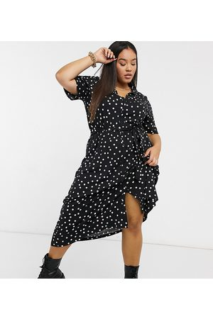 ASOS ASOS DESIGN Curve midi button through shirt dress in polka dot