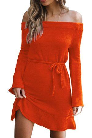 YOINS Self-tie Design Plain Off The Shoulder Flounced Hem Long Sleeves Dress