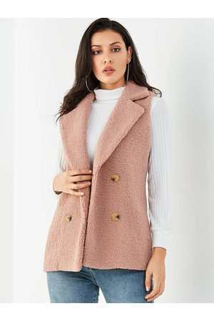 YOINS Double Breasted Design Lapel Collar Faux Fur Waistcoat