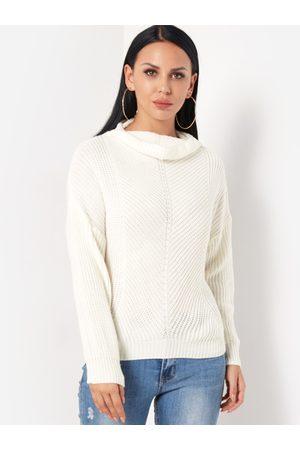 YOINS Round Neck Lantern Sleeves Casual Sweater