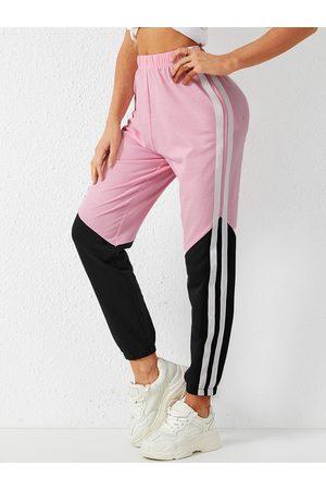 YOINS Pink Side Pockets Patchwork Stretch Waistband Pants