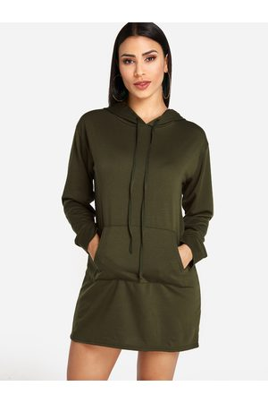YOINS Hooded Design Front Pocket Long Sleeves Sweatshirt Dress