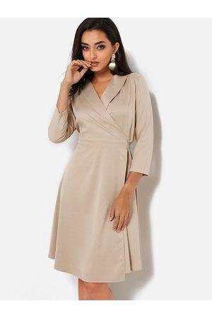 YOINS Lace-up Design V-neck Long Sleeves Wrap Dress