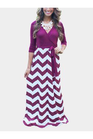 YOINS Chevron Pattern Maxi Dress