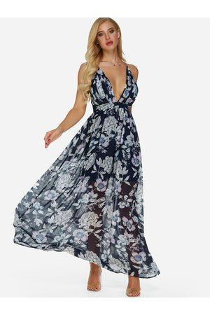YOINS Backless Random Print Deep V Neck Sleeveless Maxi Dress