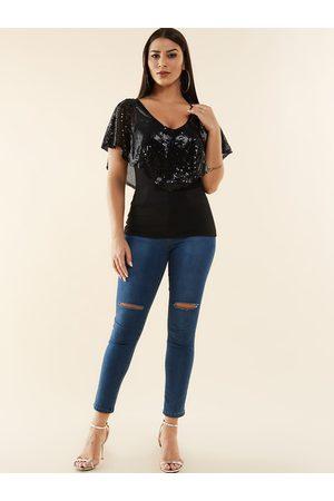 YOINS Cape Design Sequins Embellished Short Sleeves Tee