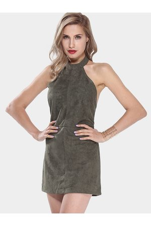 YOINS Saloon Swoon Olive Halter Dress