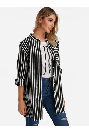 YOINS Stripe Patch Pockets Single Breasted Design Long Sleeves Shirt