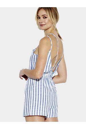 YOINS Blue Stripe Pattern Open Back Playsuit